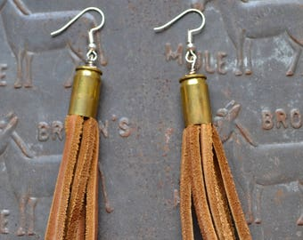 Short Tassel Bullet Casing Earrings