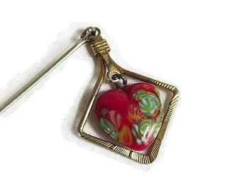 Dangle Millefiore Heart Hat Stick Pin Brooch Vintage