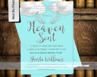 Heaven Sent Baby Shower Invite
