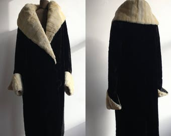 1920s Cocoon Coat in Dark Brown and White Fur