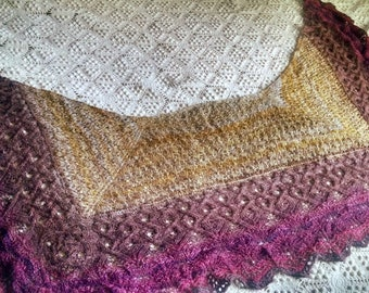Metheglin - handspun, handknit one of a kind lace shawl
