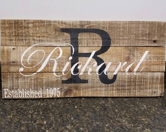 Custom Name Sign, Wedding Gift Sign,  Last Name Sign, Personalized Wood Sign, Rustic Sign, Established Date Sign, Family Name Sign
