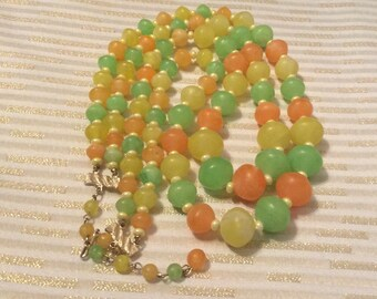 Double Strand Beaded Citrus Colors Necklace Made in Hong Kong Orange Yellow Green