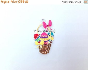 SALE Easter Basket Rhinestone Pendant for Chunky Necklaces, Easter Basket Pendant,  Chunky Necklace Pendant, Easter Pendant