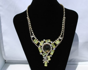 Vintage Romi Rhinestone Necklace and Clip-on Earrings