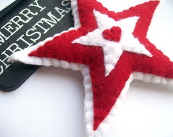 Star Christmas Ornament, Hanging Stars, Red and White, Felt Star, Red Star, Christmas Star