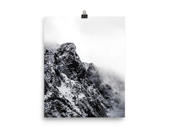 Black and white cloudy mountains print