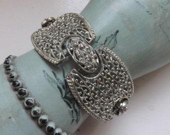 Vintage Emmons silver tone panel bracelet lacy filigree boho southwestern wide bracelet 1960s jewelry