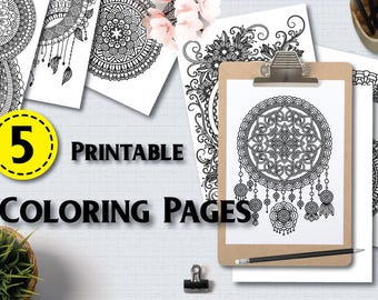 Anti stress coloring pages  | 5 Printable Adult Coloring Pages  | instant download PDF |  art therapy  |  Coloring for grown up