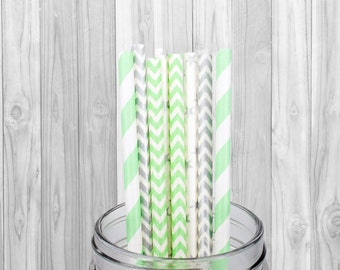 Green Silver Paper Straws, Party Supplies,  Birthday Party decorations, Wedding, Baby Shower, Mason Jar Straws, Baptism,  25 pcs