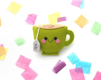 Grass Green Teacup Felt Badge, Coat Accessory, Fun Badge, Handsewn Tea Pin