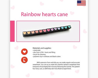 Rainbow hearts cane - Czextruder guide by Lucy [EN]
