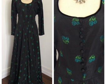Floorlength 1940s black and emerald green tafett gown - sz L