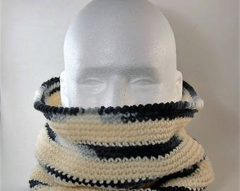 Cowl, Aran White Cowl, Aran White and Black Cowl, Men's Cowl, Gifts for him, Neck Warmer, Men's crochet cowl, Men's infinity scarf,
