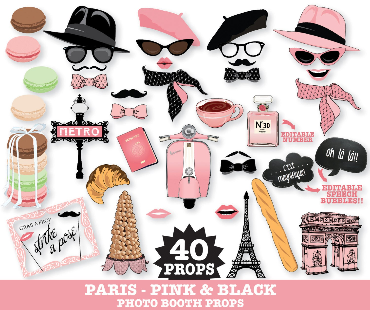 Paris Photo Booth Props Paris Baby Shower Chanel Party