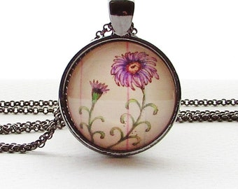 September Birthday Flower of the Month - Aster - Necklace - Mothers Day Gift - Birthday Gift - Flower Pendant - Birth Necklace