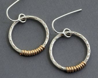 Small 14k gold filled silver hoop earrings two tone earrings mixed metal earring modern minimalist contemporary jewelry wire wrapped jewelry