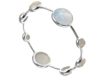 Moonstone Bangle, Stackable Bangle, Rainbow White Bangle, Natural Gemstone Bracelet, Silver Bangle, Birthstone Bracelet, Mothers Gift