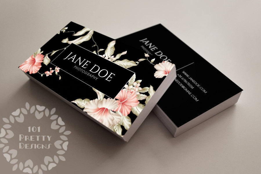 floral business card design custom business card template
