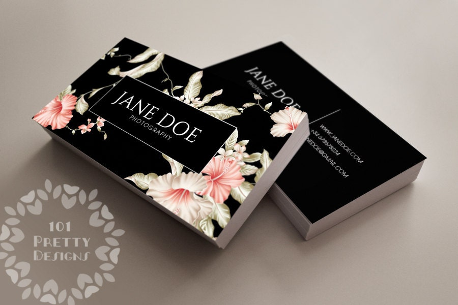 Floral Business Card Design Custom Business Card Template - Custom business card template