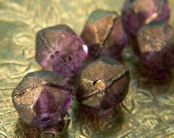 Amethyst Shimmer Rocks (6) -Czech Glass English Cut Rounds 11x10mm