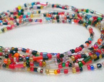Multilayer seed bead soup necklace, bib necklace, multi layer necklace, seed bead jewelry, multicolored, multi coloured necklace, rainbow