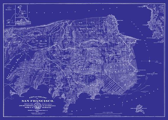 San Francisco Msp Street Map Vintage Blueprint Print Poster
