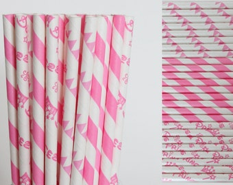 Pink Princess Paper Straw Mix-Princess Straws-Party Straws-Hot Pink Straws-Striped Straws-Pink Princess Straws-Pennants Banner Straws