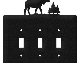 Moose Wildlife Light Switch Triple Plate Cover