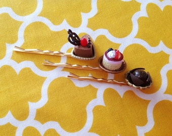Upcycle miniature food hairpin set