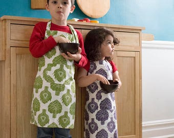 Artichoke Kids Apron - Kitchen Craft Art Play Apron - Children's Cotton Apron with Artichokes - Childs Organic Apron - GOTS Certified