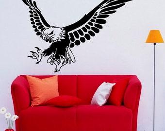 Eagle Wall Decal Bird of Prey Vinyl Stickers Hawk Murals Modern Interior Decor (072egl)