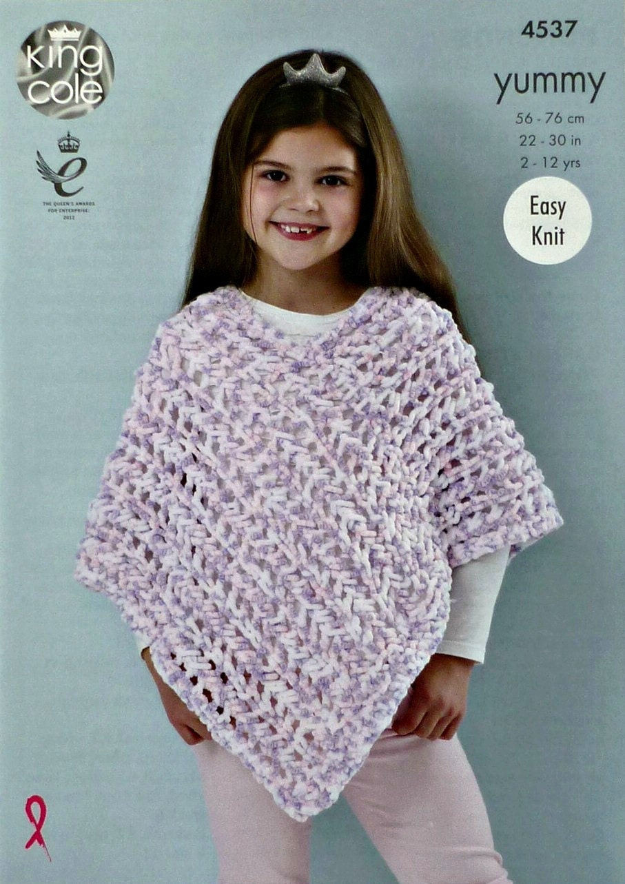 Girls Knitting Pattern K4537 Girls Easy Knit Lacy Poncho