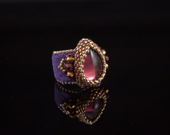 Amethyst Crown Jewel Finger Cuff