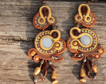 Extravagant soutache dangle earrings Orange brown yellow soutache earrings present for her Christmas present