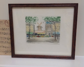 Framed Watercolour Print of the 'Moulin Rouge'