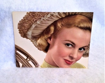 40s 50s Vintage 15 by 11 1/2 Color Cardboard Photo Pretty Girl in Hat
