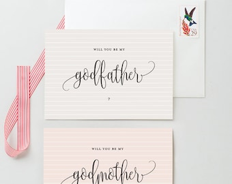 Will You Be My Godmother My Godfather My Godparents - 2 Pack - Thin Stripes Pattern