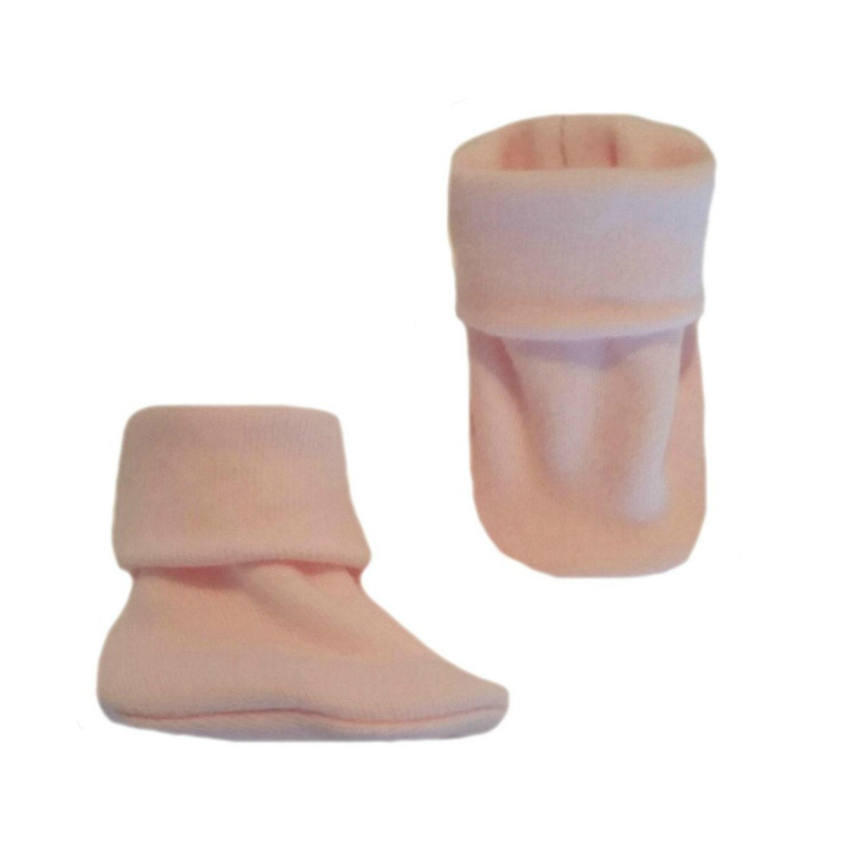 Baby Girls Light Pink Booties Cute Crib Shoe Socks 5