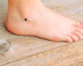 Silver anklet, double layer chain swarovski anklet, swarovski crystal anklet, crystal anklet, swarovski bead anklet, ankle bracelet 027