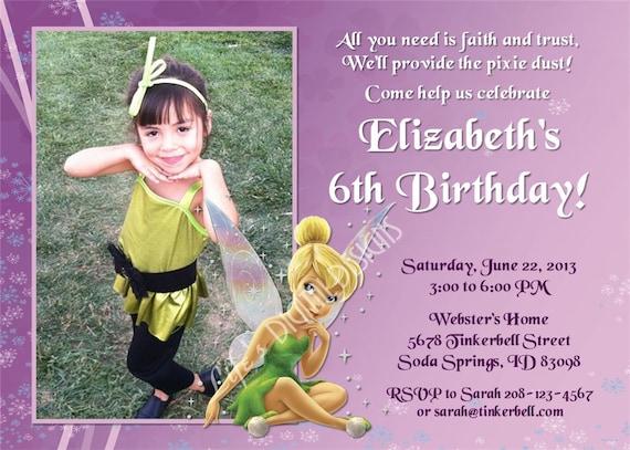tinkerbell photo invitations