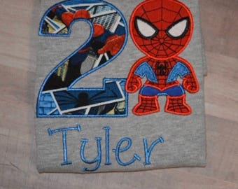 Spider-Man Birthday shirt/superhero party/Superhero shirt