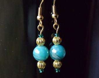 Blue and Gold Earrings, Bead Jewelry, Valentine's Day Gift, Special Occasion, Earrings under 20, Handmade Jewelry