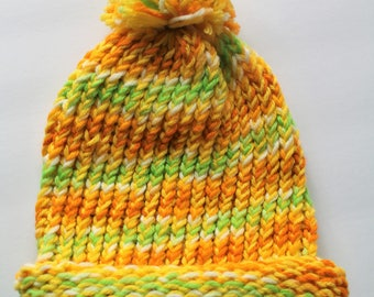 Knit winter Hat- Yellow Orange White Green- PomPom Hat-Cold Weather Accessory- Childrens Winter Hat