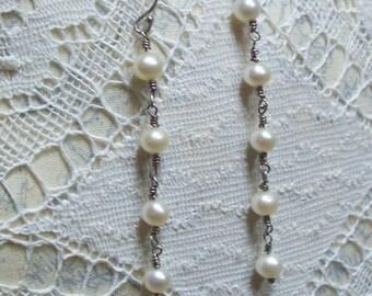 Handmade Freshwater Pearl Earrings with Sterling Silver