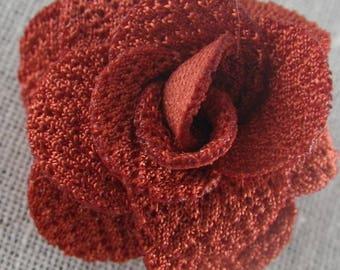 Bouton pression fleur en tissu rouille