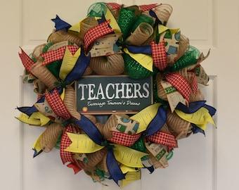 School Teacher Primary Colors Wreath