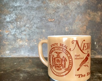 Vintage New York State City NYC Empire State Souvenir Milk Glass Collectible Mug Cup Federals Glass Heat Proof
