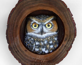 Long-Eared Owl's Den   A Fantastic Lucky Charm to Decorate your Home and a Unique Gift Idea for Owl Lovers! Painted Owls by Roberto Rizzo