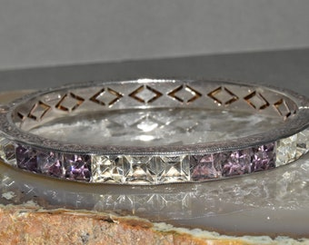 Art Deco Wide Sterling Silver Channel Set Crystal & Lavender Bangle Bracelet